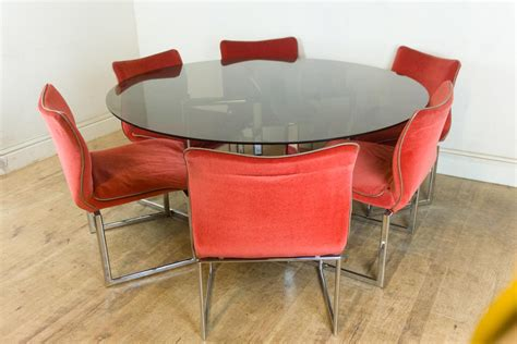 vintage chrome table and chairs for sale vintage retro pieff glass and chrome dining table and 6