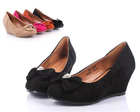 youth high heels black dressy bow rhinestone wedge heels