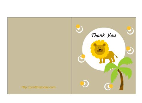 thank you card template 4 cuts placement free jungle baby shower clipart 53