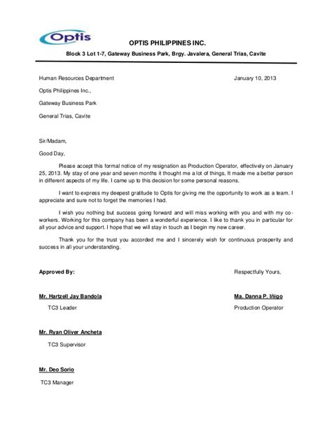 Resignation Letter Sle Doc Philippines Optisphilippinesinc 130106204247 Phpapp01