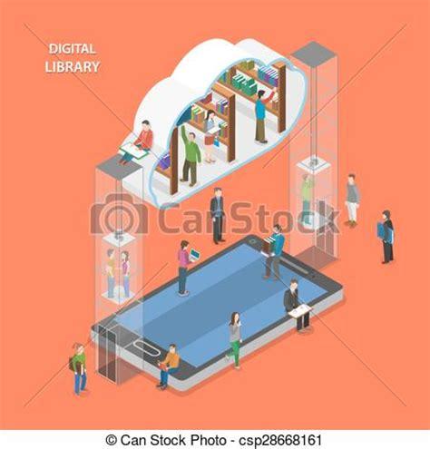 free printable art nyc digital library clip art vector of digital library flat isometric vector