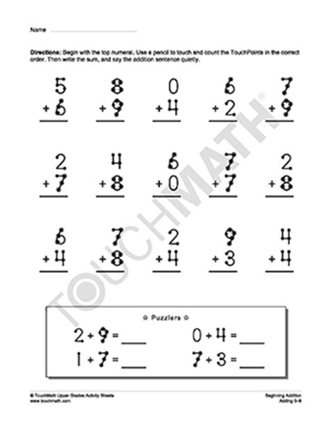Touch Math Printable Worksheets by Touchmath Addition Worksheets Search Results Calendar 2015