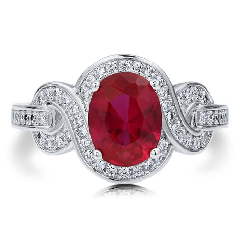 berricle sterling silver oval simulated ruby cz solitaire