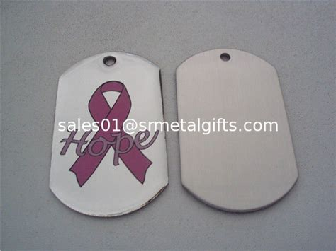 Pink Ribbon Giveaways - pink ribbon printed metal dog tags epoxy pink ribbon key tags for promotional giveaways