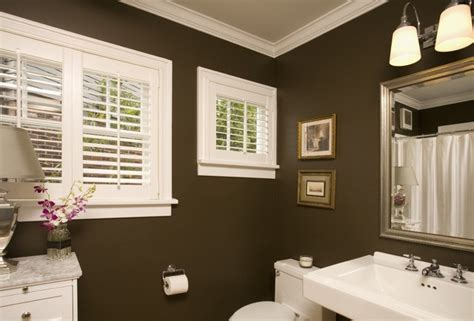 Bathroom Colors With Trim Chocolate Truffle Paint Color For Small Bathrooms Bold
