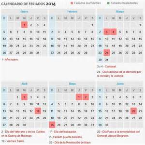 Calendã 2017 Feriados Para Imprimir Calendario 2014 Con D 237 As Festivos De La Argentina