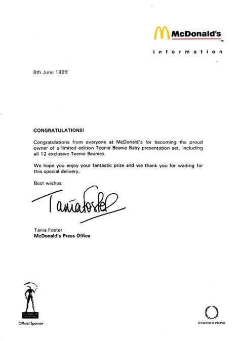 Sweepstakes Winner Letter - cover letter contest winner