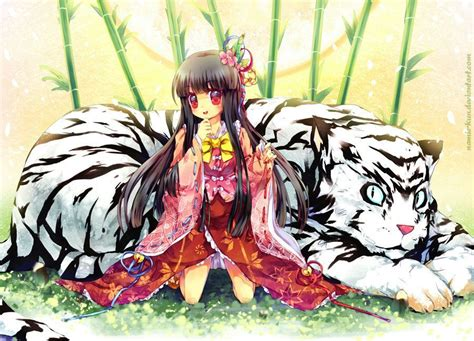 White Tiger Home Decor by A Cute Asian Manga Character Poses With A White Tiger In