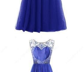 735 No Arm Dress With Ribbon At Chest royal blue a line scoop neck tulle floor length sequins open back modest prom dresses on luulla