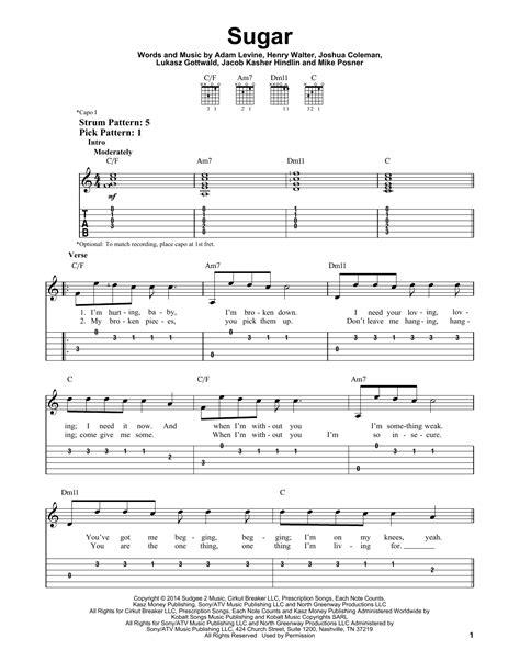 printable lyrics sugar maroon 5 sugar sheet music by maroon 5 easy guitar tab 160381