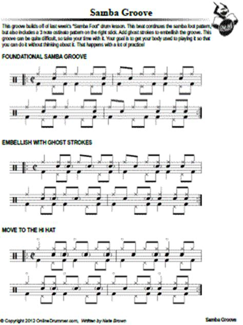 samba drum pattern notation latin onlinedrummer com