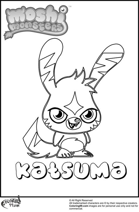 moshi monsters coloring pages katsuma kitty moshi free colouring pages