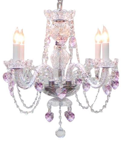 Pink Chandelier Light Chandelier With Pink Hearts Traditional Chandeliers By Gallery