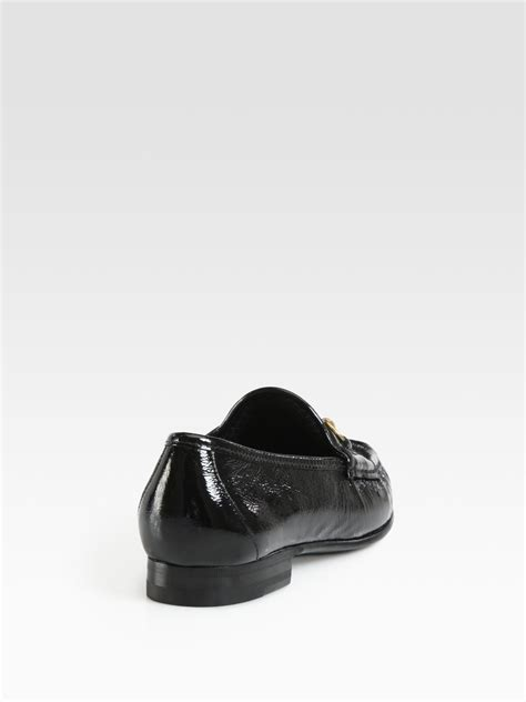 gucci loafers black gucci patent leather horsebit loafers in black lyst