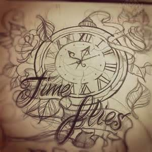 time flies clock tattoo design