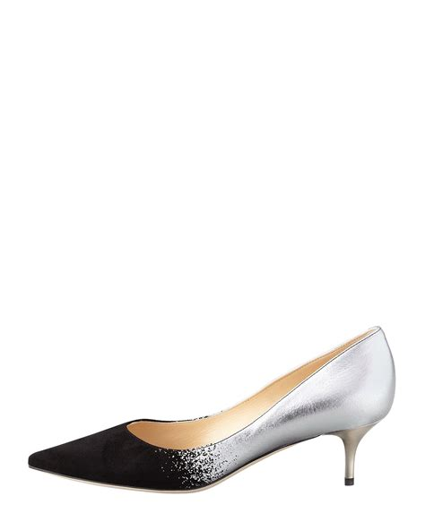patterned kitten heels jimmy choo aza suedemetallic degrade kitten heel pump in
