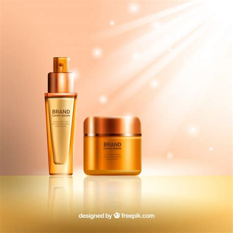 product background bright background of golden cosmetic products vector