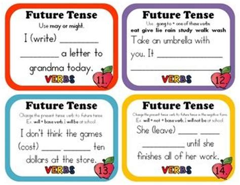tenses present tense past tense future tense illustrated books future tense task cards and worksheets my tpt products