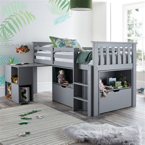 Mid Sleeper Beds by Milo Grey Wooden Mid Sleeper Bed