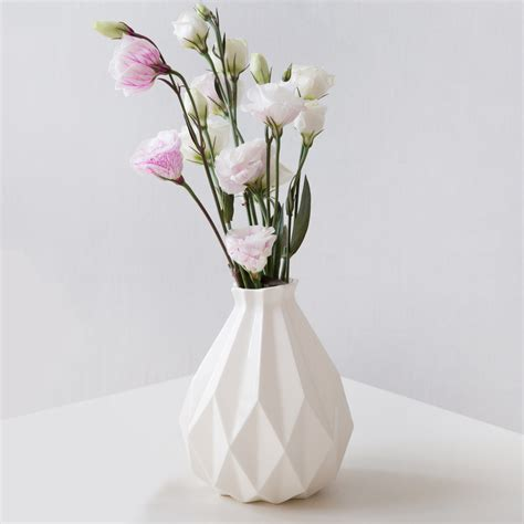 Origami Flower Vase - geometric vase white ceramic vase origami inspired flower