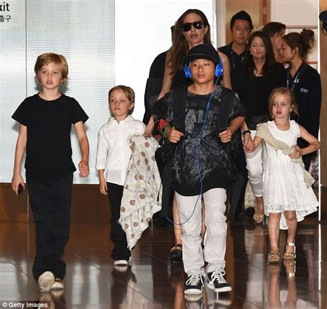 Brangelina And Baby Makes Six by And Brad Pitt Leave Their Six Children At