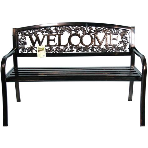 outside metal benches united general supply co metal welcome bench by united