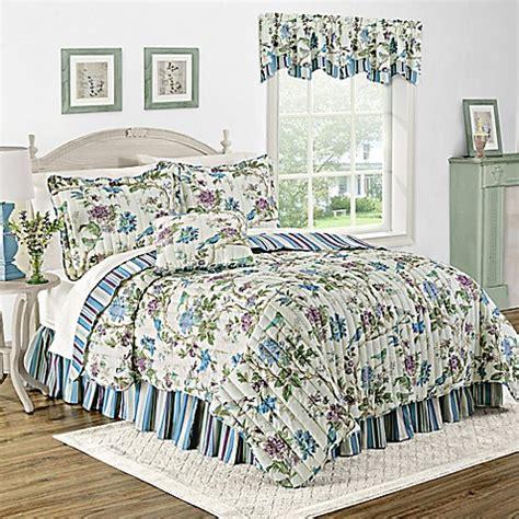 bed bath and beyond larkspur waverly 174 charleston chirp larkspur reversible quilt set bed bath beyond