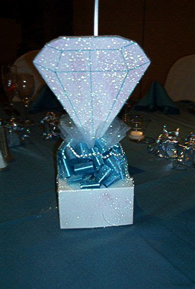 Diamond centerpiece   Denim and diamonds birthday party
