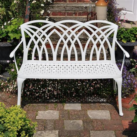 white metal garden bench white april metal garden bench home design pinterest