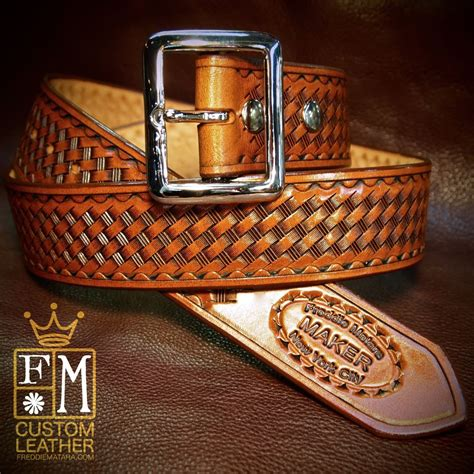 leather belt custom cowboy gun leather tooled and