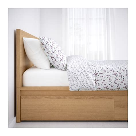 Malm Headboard Storage by Malm Bed Frame High W 4 Storage Boxes White Stained Oak