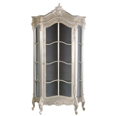 glass armoire furniture sylvia silver display cabinet french bedroom company
