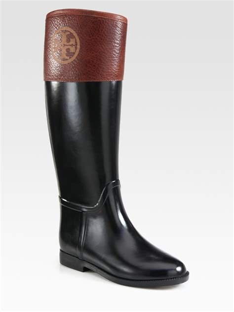 burch black boots burch diana leathertrimmed boots in black lyst