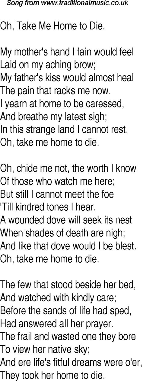 time song lyrics for 13 oh take me home to die