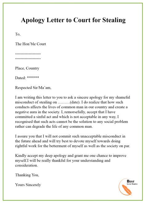 apology letter template court format sample