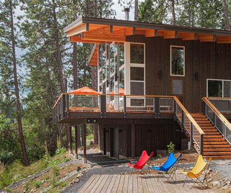 modern cabin rustic exterior seattle by johnston architects modern lake cabin with rustic details modern exterior