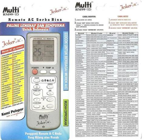 Remote Multi Joker jual remote ac multi joker bisa semua merk di lapak