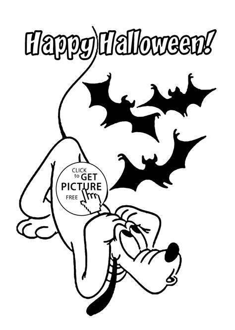 printable pictures of halloween characters happy halloween and pluto coloring page for kids