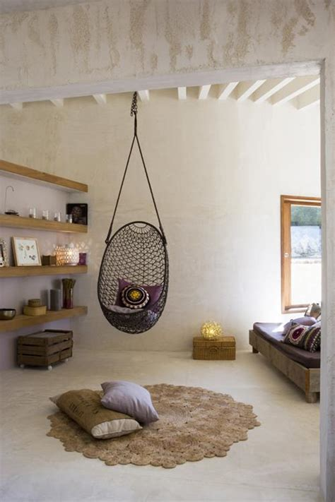 interior swing chair cozy bohemian house in formentera spain decoholic