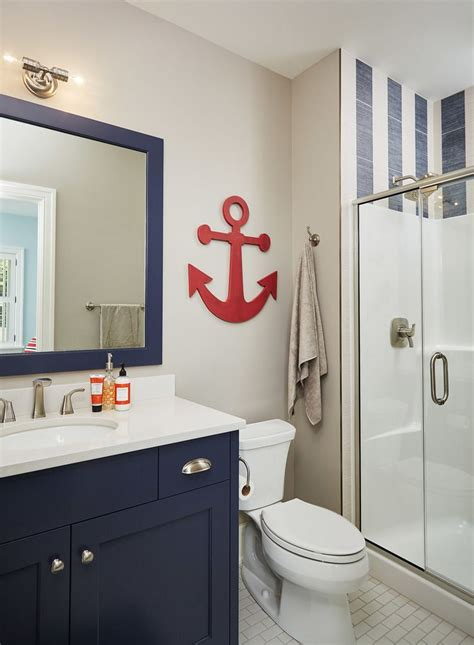 Nautical Bathroom In Navy And White With Red Anchor Wall Nautical Bathroom Storage