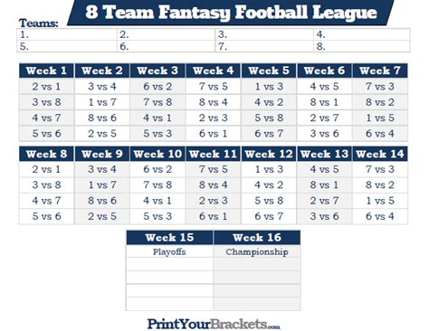 5 team league schedule template printable 8 team football league schedule