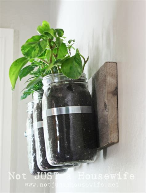 Mason Jar Wall Planter Not Just A Housewife Jar Herb Garden Wall