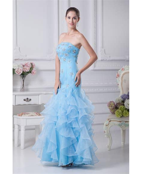cute beaded blue sheath prom dress  ruffles op