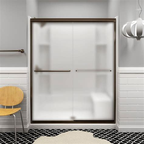 Shower Door At Home Depot Sterling Finesse 59 5 8 In X 70 1 16 In Semi Frameless Sliding Shower Door In Frosted Nickel