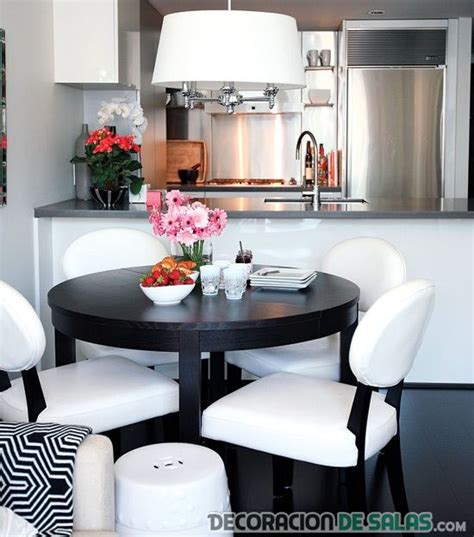 comedor blanco y negro cocinas y comedores juntos en espacios peque 241 os