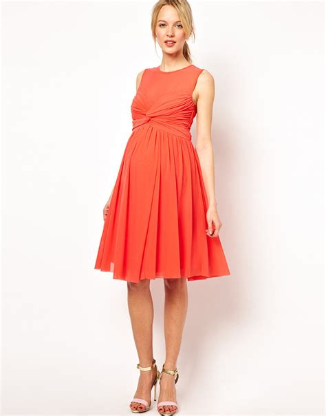 ASOS Maternity Dress in Mesh and Knot Front   Here Comes the . . . Best Dressed Pregnant Wedding