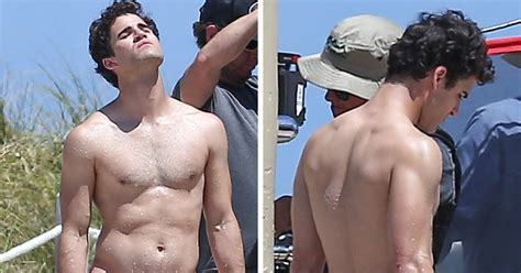 darren criss rocks a speedo in miami during filming for