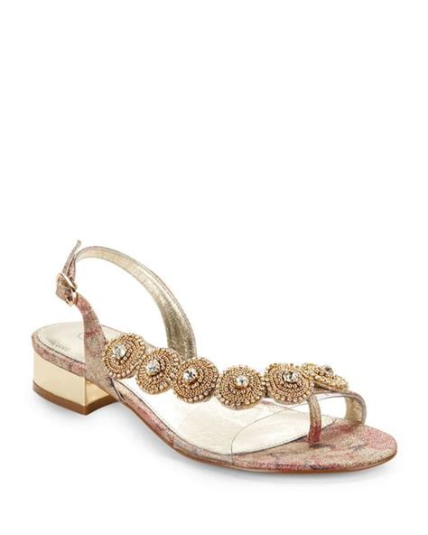 gold bling sandals papell rhinestone sandals in pink gold lyst