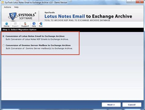 Lotus Notes Search Email Domino Emails To Exchange Archive Mailbox Screenshot X