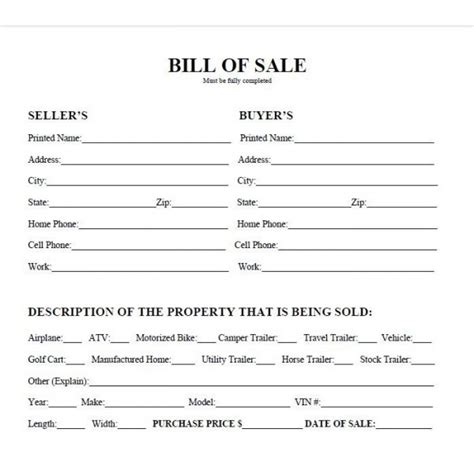 automobile bill of sale sample with bill sale template contract car